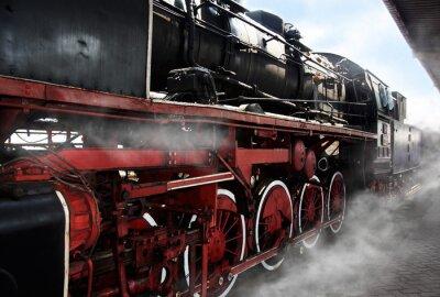 Плакат Старые колеса локомотива