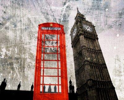 Плакат Старый Лондон Составление Telefonzelle унд Биг-Бен