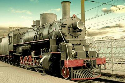 Плакат Старый паровоз на станции