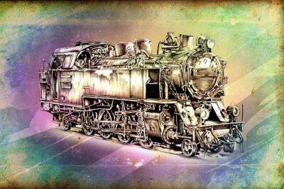 Плакат старый паровоз двигатель ретро старинные