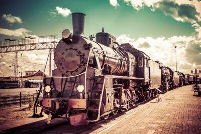 Плакат Старый паровоз, старинный поезд.