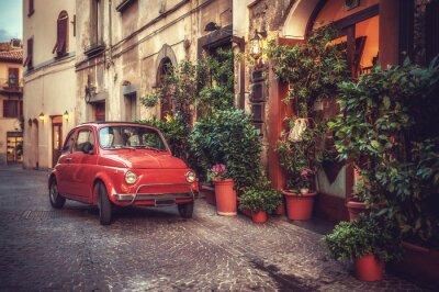 Плакат Старый урожай культ автомобиль, припаркованный на улице в ресторане, в