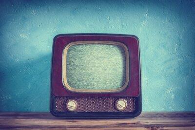 Плакат Старый урожай телевизор с деревянном корпусе