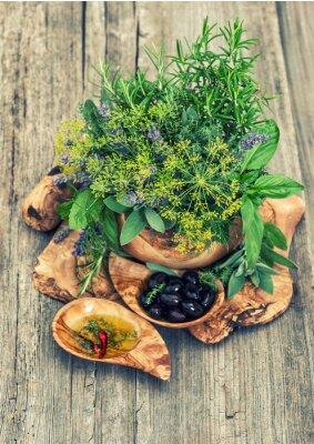 Плакат Оливки, масло, травы и специи. Винтажный стиль тонированное