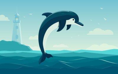 Плакат Один дельфин прыжки, синее море фон с волнами и маяк. векторные иллюстрации