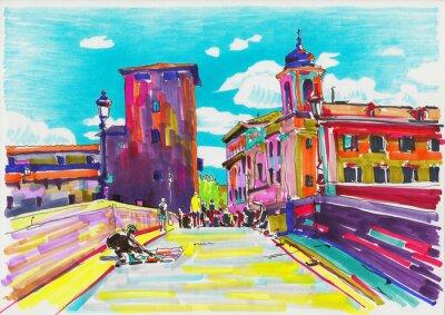 Плакат Оригинальный маркер покраска Рим Италия городской пейзаж