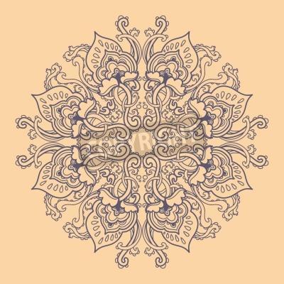 Плакат Декоративные круглые цветочным узором кружева. калейдоскопической цветочный узор мандалы.
