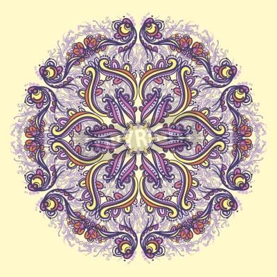 Плакат Декоративные круглые цветочным узором кружева калейдоскопической цветочный узор мандалы
