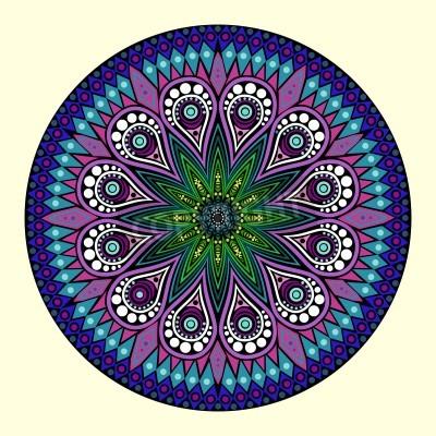 Плакат декоративные кружева вокруг картины, круг фон с множеством деталей, выглядит крючком кружева ручной работы