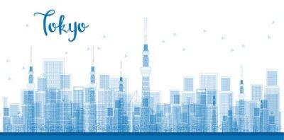 Плакат Схема Tokyo City Небоскребы в синий цвет.
