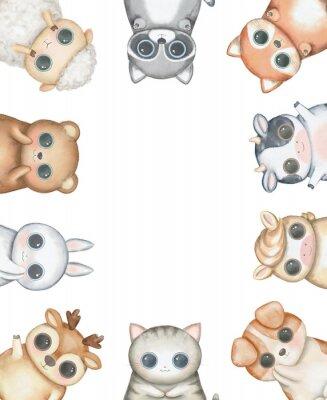 Плакат Oval frame composition with kawaii cartoon cute cat, dog, bear, fox, rabbit, cow, raccoon, deer, sheep and pony isolated on white background. Watercolor hand drawn illustration