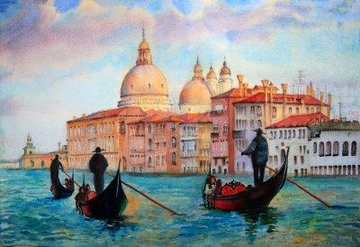 Плакат Живопись Венеции, написанный акварелью