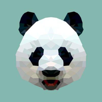Плакат панда глава полигон изолированные вектор