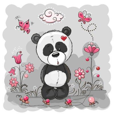 Плакат Панда с цветами
