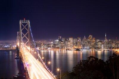 Плакат Панорама ди Сан-Франциско е Bay Bridge ди Notte