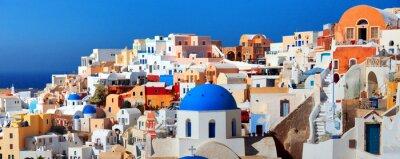 Плакат Панорама города славится Греция Ия. Остров Санторини