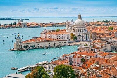 Плакат Panoramic aerial cityscape of Venice with Santa Maria della Salute church, Veneto, Italy