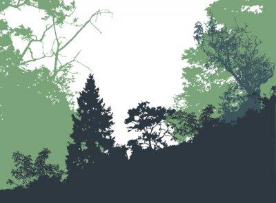 Плакат Панорамный лесной пейзаж с силуэтами деревьев