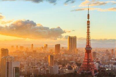 Плакат панорамный вид Осаке верхнем этаже самого высокого здания