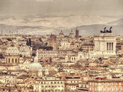 Плакат Панорамный вид на Рим на фоне гор. Ретро тонированное фото
