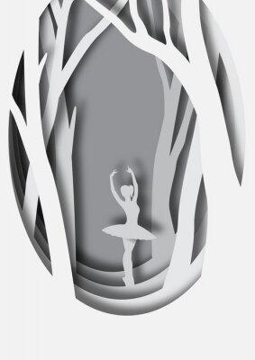 Плакат Бумажная художественная резьба балерины