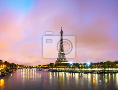 Плакат Париж городской пейзаж с Эйфелевой башней