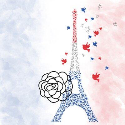 Плакат Париж Эйфелева башня