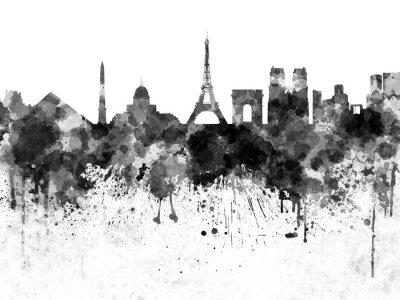 Плакат Париж горизонт в черном акварель