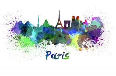 Плакат Париж горизонт акварелью