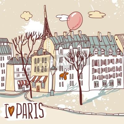 Плакат Париж городской эскиз