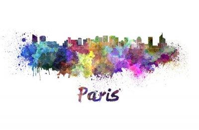 Плакат Париж V2 горизонта в акварели