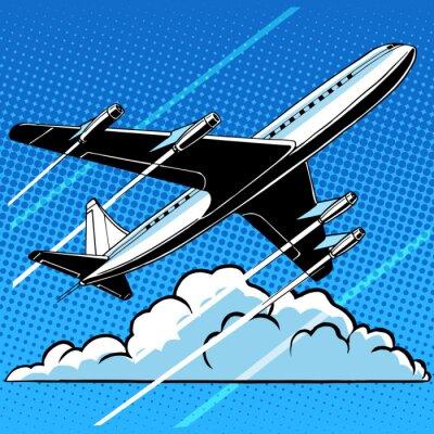 Плакат Пассажирский самолет в облаках фоне ретро