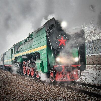 Плакат Пассажирский ретро паровоз идет быстро.