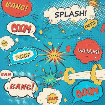 Плакат Шаблон комиксов речи пузыри в стиле поп-арт