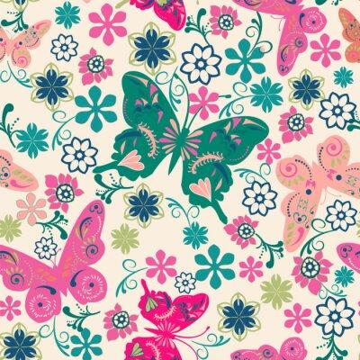 Плакат образец бабочек и flowers- иллюстрации