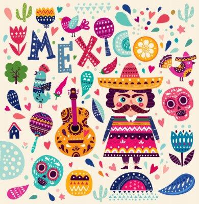 Плакат Шаблон с символами Мексики