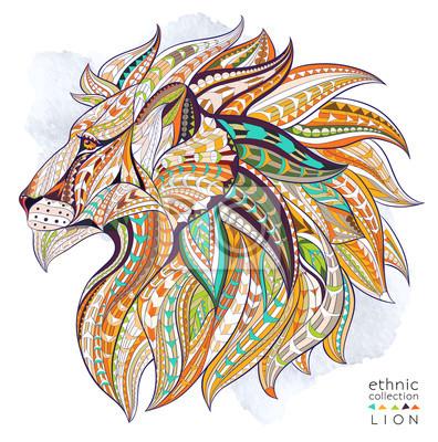 Плакат Узором голова льва на фоне гранж. Африканский / индийский дизайн / тотем / татуировки. Он может быть использован для дизайна футболки, сумки, открытки, плакат и так далее.