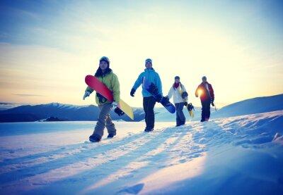 Плакат Люди Сноуборд Зимние виды Понятие дружбы