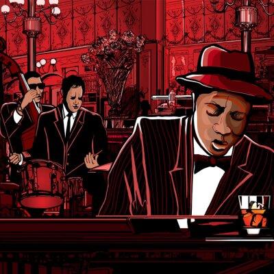 Плакат фортепиано-Джаз-бэнд в ресторане