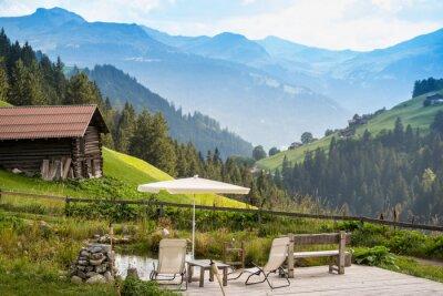 Плакат Живописное Расслабляющая точка для отдыха в Альпах