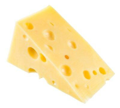 Плакат Кусок сыра изолирован. С отсечения путь.