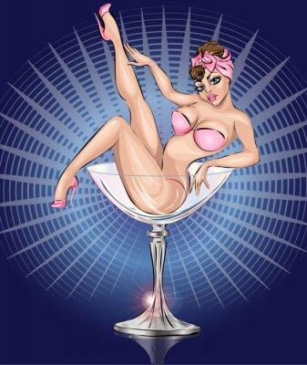 Плакат Pin Up сексуальная девушка, носить розовые бикини в Martini стекла
