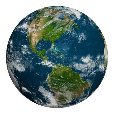 Плакат Планета Земля с облаками. Северная и Южная Америка.