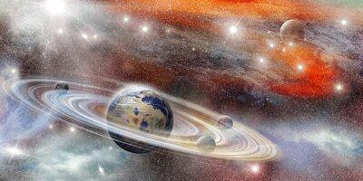 Плакат Планета в космосе с многочисленными кольцевой системы
