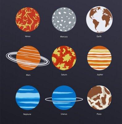 Плакат Планеты значки на темном фоне