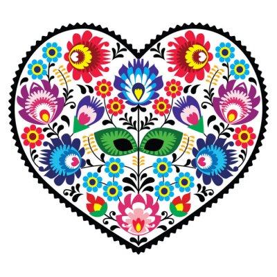 Плакат Польский народное искусство искусство сердце с цветами - wzory lowickie