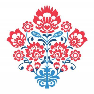 Плакат Polish Folk art pattern with flowers - wzory lowickie, wycinanka
