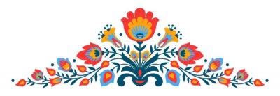 Плакат цветы Польский народный стиль Papercut