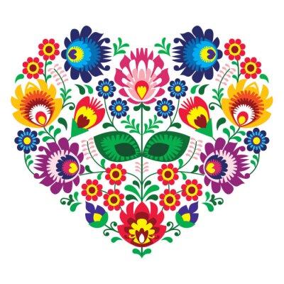 Плакат Польский OLK искусство искусство сердце вышивка - Wzory Lowickie