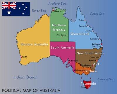 Плакат Политическая карта Австралии